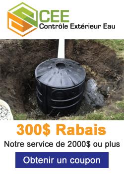 Contrôle Eaux Pluvial 300$ de Rabais 2000$ ou Plus